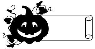 Zwart-wit kader met Halloween-pompoensilhouet Stock Afbeelding