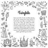 Zwart-wit kader met leuke sprookjevoorwerpen royalty-vrije illustratie