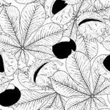 Zwart-wit Kastanje Naadloze Achtergrond Stock Afbeelding