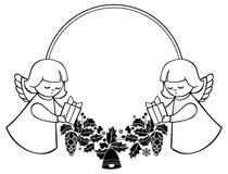 Zwart-wit Kerstmiskader met leuke engelen De ruimte van het exemplaar stock illustratie