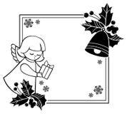 Zwart-wit Kerstmiskader van Rouen met leuke engelen Exemplaarkuuroord Royalty-vrije Stock Foto