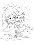 Zwart-wit - Kinderen en de regen Royalty-vrije Stock Afbeeldingen