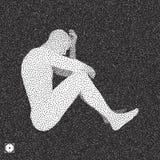 Zwart-wit korrelig dotworkontwerp Pointillismepatroon met optische illusie Gestippelde vectorillustratie royalty-vrije illustratie