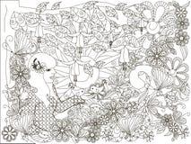 Zwart-wit krabbelhand getrokken meisje met het houden van van vogel, bloemenachtergrond, Lorem ipsum royalty-vrije illustratie