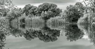 Zwart-wit landschap met meer stock foto