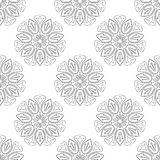 Zwart-wit Lotus Seamless Pattern Stock Afbeeldingen