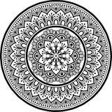 Zwart-wit Mandalapatroon Stock Afbeeldingen