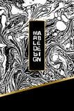 Zwart-wit marmeren patroon Zwart-wit marmeringstextuur Decoratief marmermalplaatje met gouden banner Vector Stock Afbeelding