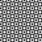 Zwart-wit met veelhoek en vierkant patroon op zilveren backgr Stock Afbeelding