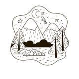 Zwart-wit minimalistic berglandschap met sparren stock foto
