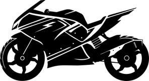 Zwart-wit motorfietssilhouet stock illustratie