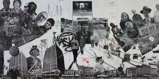 Zwart-wit Muurbeeld in Boston Royalty-vrije Stock Foto's