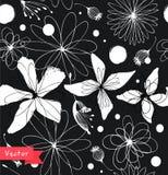 Zwart-wit naadloos bloemenpatroon Decoratieve overladen achtergrond met fantasiebloemen Stock Foto
