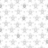 Zwart-wit naadloos kinderen` s patroon met schildpadden stock illustratie
