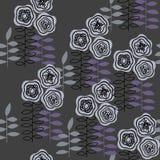 Zwart-wit naadloos patroon met abstracte bloemen voor document, textieldruk en Webprojecten Donkere achtergrond royalty-vrije illustratie