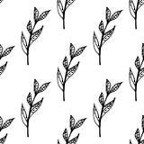Zwart-wit naadloos patroon met bladelementen Stock Afbeeldingen