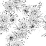 Zwart-wit naadloos patroon met bloemen Nam toe De illustratie van de waterverf royalty-vrije stock afbeeldingen