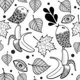 Zwart-wit naadloos patroon met krabbelvogels en bananen Stock Foto's