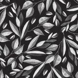 Zwart-wit naadloos patroon met waterverftakken vector illustratie