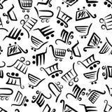 Zwart-wit naadloos patroon van boodschappenwagentjes vector illustratie