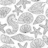 Zwart-wit naadloos patroon voor het kleuren van boek Het overzeese leven Stock Foto