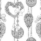 Zwart-wit Naadloos Vrolijk Kerstmispatroon, Nieuwjaarillustratie stock illustratie