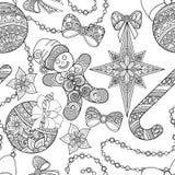 Zwart-wit Naadloos Vrolijk Kerstmispatroon, Nieuwjaarillustratie vector illustratie
