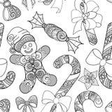 Zwart-wit Naadloos Vrolijk Kerstmispatroon, Nieuwjaarillustratie royalty-vrije illustratie