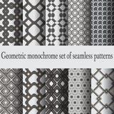 Zwart-wit naadloze patronen Stock Fotografie