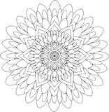 Zwart-wit online art. Geometrisch Rond Bloemenornament Royalty-vrije Stock Afbeeldingen