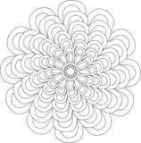 Zwart-wit online art. Geometrisch Rond Bloemenornament Stock Afbeeldingen