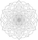 Zwart-wit online art. Geometrisch rond ornament Stock Fotografie