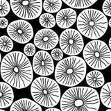Zwart-wit organische rondes Modieuze structuur van natuurlijke cellen Hand getrokken abstracte achtergrond Stock Fotografie