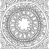 Zwart-wit ornament Bloemenmandala Hand Getrokken Patroon Stock Foto