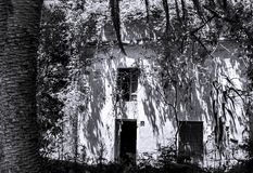 Zwart-wit oud wildernishuis royalty-vrije stock afbeeldingen