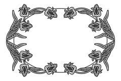 Zwart-wit ovaal etiket met bloemen Stock Afbeelding