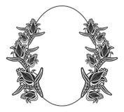 Zwart-wit ovaal etiket met bloemen Royalty-vrije Stock Afbeelding