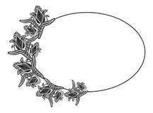Zwart-wit ovaal etiket met bloemen Royalty-vrije Stock Fotografie