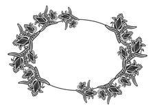 Zwart-wit ovaal etiket met bloemen Royalty-vrije Stock Foto