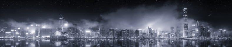 Zwart-wit panorama van Hong Kong, stock foto