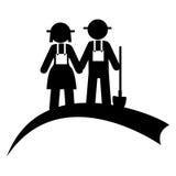 Zwart-wit pictogram met paar van landbouwers royalty-vrije illustratie