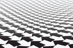 Zwart-wit pijlenpatroon Verminderend Perspectief vector illustratie