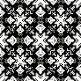 Zwart-wit pixel geometrisch abstract naadloos patroon Stock Afbeeldingen