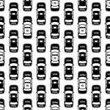 Zwart-wit politiewagens naadloos patroon royalty-vrije illustratie