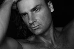 Zwart-wit portret Stock Foto's