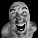Zwart-wit portret van de gekke mens royalty-vrije stock foto's