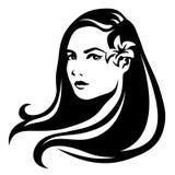 Zwart-wit portret van een mooie jonge vrouw Vector illustratie stock illustratie