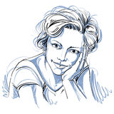 Zwart-wit portret van gevoelige dromerige knappe vrouw, royalty-vrije illustratie