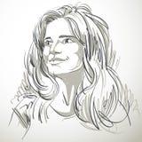 Zwart-wit portret van gevoelige verbijsterde knappe vrouw, royalty-vrije illustratie