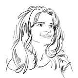 Zwart-wit portret van gevoelige verbijsterde knappe vrouw, vector illustratie